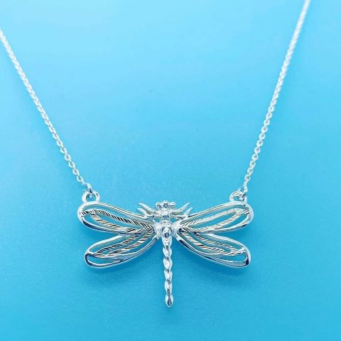 Genuine 925 Sterling Silver Dragonfly Necklace on 17 inch Trace Chain